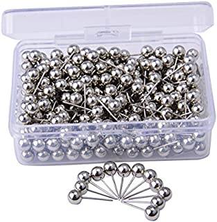 JoyFamily Map Tacks Push Pins, with 1/5 Inch Round Plastic Head and Steel Point, 300 PCS (Silver)