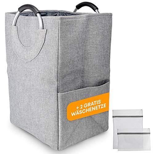 Monlamar® Wäschekorb mit abnehmbarem Trenner & Zwei Wäschenetzen - 34x28x50cm - faltbar, schmal & platzsparend - Polyester Wäschesammler mit Griffen - ideal zum Vorsortieren - 47Liter (Grau)