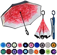 Car Reverse Folding Umbrella Windproof UV Protection with C-Shaped Handle Inverted Umbrella with Classic Aged Misty Forest Print