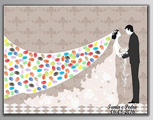 NOVAGO Bild (Leinwand) mit Fingerabdruck für Gastgeschenke wie Hochzeit, Geburtstag, Taufe, Kommunion (Zwei farbige Patronen) (60 x 75 cm, Brautkleid)