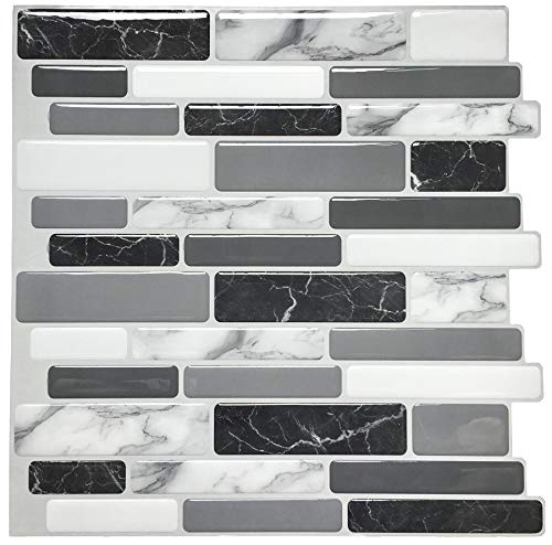 Art3d Peel and Stick Wall Tile for Kitchen Backsplash, 12'x12', (10 Tiles)