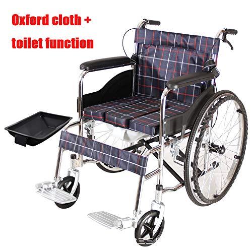 Xljh Rollstuhl Dicke Stahlplatte Überzug Rollstuhl ältere Klapplampe mit Toilette Toilette ältere Menschen behinderte Reisen,B