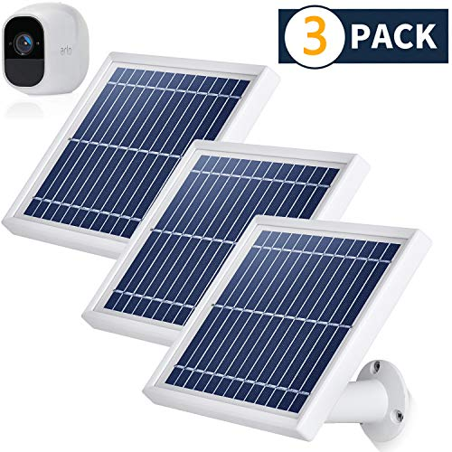 Lowest Prices! iTODOS 3 Pack Solar Panel Compatible with Arlo Pro 2, 11.8Ft Outdoor Power Charging C...