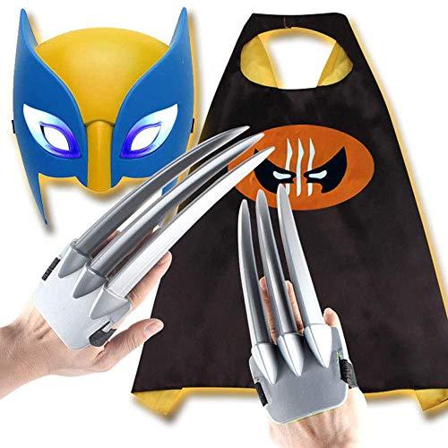 Accesorio de disfraz de Wolverine, capa de 3 garras largas de Wolverine, mscara luminosa, juego de 3 piezas de cosplay para nios, accesorios que se aplican a la mascarada de disfraces de Halloween