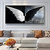 Lienzo de alas de ángel en blanco y negro, carteles e impresiones, pinturas de lienzo de alas modernas en la pared, imágenes artísticas, decoración del hogar 60x120 CM (sin marco)