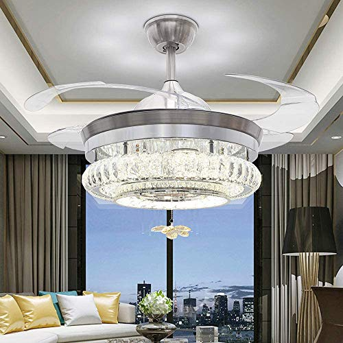 42 Inch Crystal ceiling fans,Remote Chandelier Fan with 4 Retractable Fan Blade Best Choose for Bedroom/Kitchen/Living Room