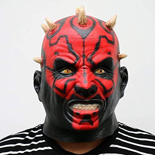 XIAOWANG Classement Officiel du Film Star Wars Wars Darth Maul Masque tête Horreur Effrayant Halloween Chef Masque pour Costume Party Cosplay Costume Balle