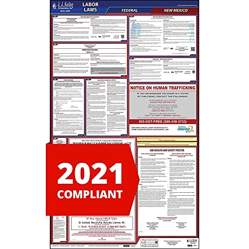 2021 New Mexico and Federal Labor Law Poster (English, NM State) - OSHA Compliant All-in-One Laminated Poster