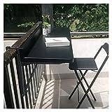 AMSXNOO Balkonhängetisch, Metall Klappbar Höhenverstellbarer Geländer Klapptisch, Rechteckig Gartentisch, Verstellbar Outdoor-Tisch für Garten Camping Balkon (Color : Black, Size : 120X40CM)