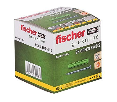 fischer Spreizdübel SX GREEN 8 x 40 S, je 45 nachhaltige Dübel & Schrauben, Allzweckdübel aus nachwachsenden Rohstoffen, optimaler Halt in Beton, Hochlochziegel, Porenbeton, Vollziegel uvm.