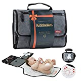 Kiddadles Portable Changing Pad – Baby Changing Mat with Soft Pillow – Baby Changing Station with Wet Tissue Pocket and Carry Handle – Mesh Pocket for Baby Essentials – Waterproof and Easy to Clean