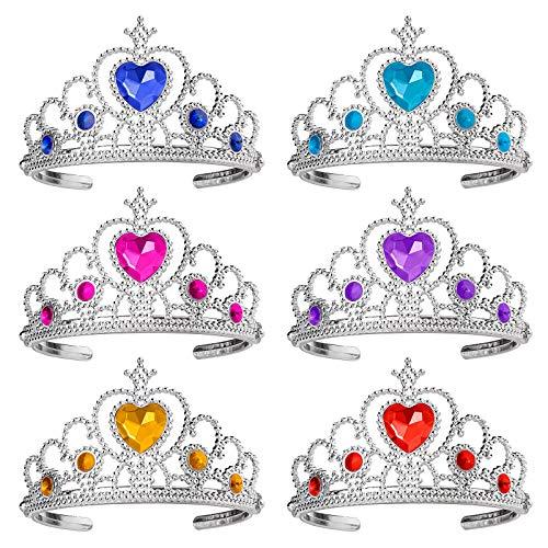 Ouinne 6 Stück Prinzessin Tiara Crown, Dress Up Tiaras Crown Set Mädchen verkleiden Party Zubehör