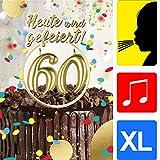 bentino Geburtstagskarte XL mit leuchtenden'KERZEN' zum AUSPUSTEN, Spielt den Song'Happy', DIN A4 Set mit Umschlag, Glückwunschkarte zum 60. Geburtstag, Grußkarte'Great Cards' von bentino