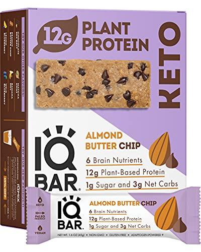 IQBAR Brain + Body Protein Bars   Almond Butter Chip   Keto,...