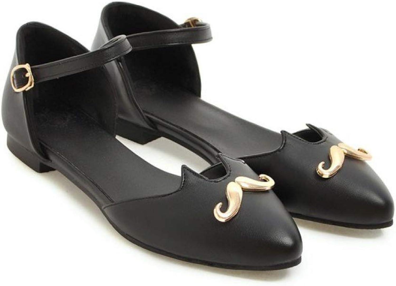 JOYBI Women Pointed Toe Flats Sandals Buckle Strap Non Slip Wedding Comfort PU Low Heel Pumps Dress Sandal