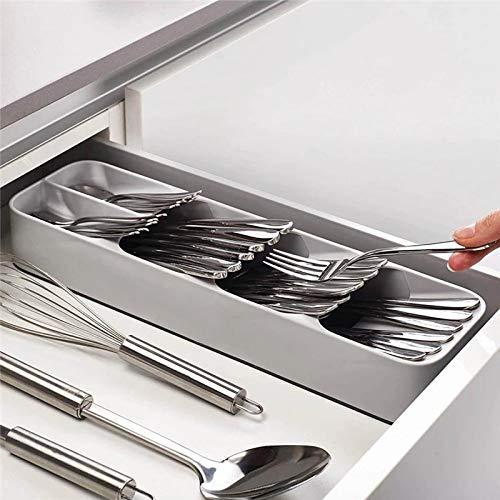 New Kitchen Drawer Organizer Tray Spoon Cutlery Separation Finishing Storage Box Cutlery Kitchen Storage for Spoon Fork Shelf