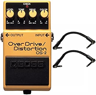 Boss OS-2 Overdrive/Distortion and 2 Roland Black Series 6 inch Patch Cables