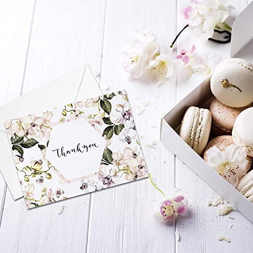 Thank You Cards: Posh Floral Bulk Set of Blank Note Cards - Personalized Greeting Card for Business Notes, Party Events and More - Assorted Modern Pack with Envelopes and Pretty Stickers Inside