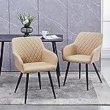 CLIPOP Esszimmerstuhl 2er-Set Kunstleder Polsterstuhl Küchenstuhl Retro Armlehnstuhl Stuhl Wohnzimmerstuhl mit Armlehne und Metall Beine (Creme)