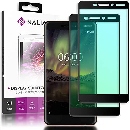 NALIA (2-pack) beschermend glas compatibel met Nokia 6.1 (2018), 9H Full Cover Screen Protector Glas-folie, dunne mobiele telefoon beschermfolie beeldscherm, beschermfilm Screen Protector - Transparant (zwart)