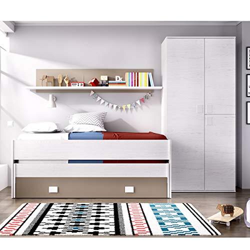 HABITMOBEL Conjunto Dormitorio Juvenil, Cama Nido 2 cajones + Armario 3 Puertas 90 cm,Blanco Artico