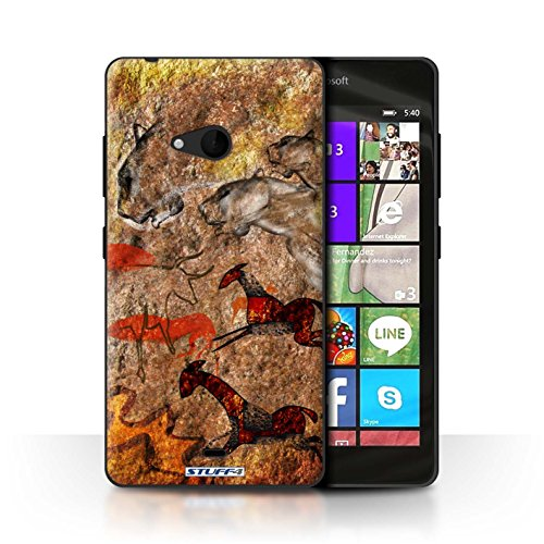 STUFF4 telefoonhoesje/hoes voor Microsoft Lumia 540 (zwart/wit) / Stampede/rood ontwerp/grot schilderij collectie