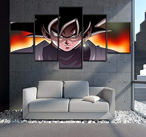 Pintura de animación Estilo modular 5 paneles Dragon Ball Super Black Goku Imagen en lienzo Impresión y en la pared Arte decorativo 60x32 pulgadas