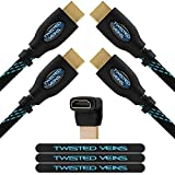 Twisted Veins Two (2) Pack of (50 ft) High Speed HDMI Cables + Right Angle Adapter and Microfiber Cable Ties (Latest Version Supports Ethernet vein support Apr, 2021
