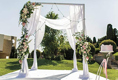 OERJU 10x8ft Wedding Backdrop White Curtain Colorful Floral Wedding Ceremony Photography Background Bridal Shower Party Cake Table Banners Lover Engagement Prom Decor Girl Lady Photo Props
