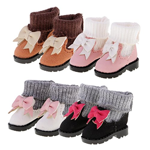 LoveinDIY 4 Pairs 1/6 Hi-top Bowknot Boots for Blythe Azone Pullip Doll Accessories