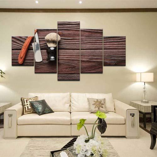 ACCEY 5 Panels Friseurwerkzeuge Retro-Rasiermesser Beauty Styling Tool HD-Druck Leinwand Malerei auf Wandkunst Bild Friseursalon Home Decor @ Framed_30X40_30X60_30X80cm