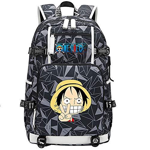 ZZGOO-LL One Piece Monkey·D·Luffy/Roronoa Zoro Bolsa de Hombro Mochila para Exteriores para un montón de Almacenamiento Bolsa USB Unisex-G