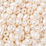 Fashewelry 100 cuentas de perlas naturales de color concha ovaladas cultivadas de agua dulce perlas sueltas de 7 ~ 10 mm para bricolaje, collares, pulseras, pendientes, bisutería.