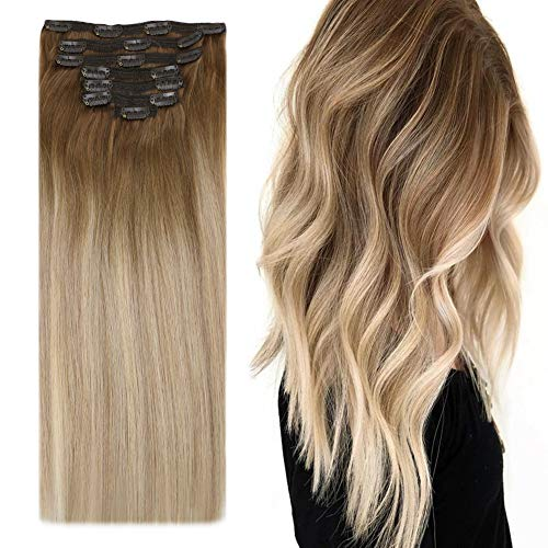YoungSee Balayage Clip in Extensions Ombre Remy Doppelt Tressen Clips Extensions Echthaar Dickes Haare Mittelbraun zu Aschblond mit Blond Clip in Hair Extensions Voller Kopf 7pcs/120g 40cm