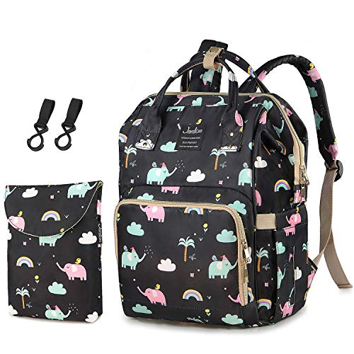 Diaper Bag, Junlion Waterproof Diaper Backpack Baby Nappy Changing Bags with Hooks + Independent Dirty Diaper Pouch Elephant