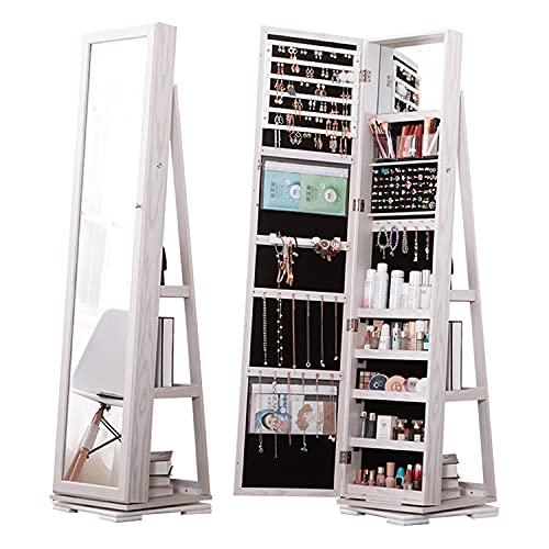 Lvifur Armario Joyero 360° Giratorio, Guarda Joyas de Pie, Armario de Joyas 3 en 1, Gabinete de Belleza, con Espejo para maquillarse, estantes, Cerradura, Blanco
