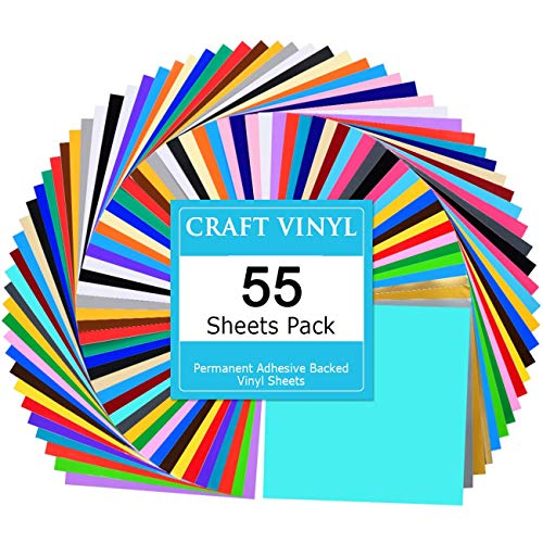 Lya Vinyl 55 Assorted Colors Permanent Adhesive Vinyl Sheets 12 x 12 inchs for Decor Sticker, Weeding Machine, Craft Cutter Machine, Printers, Letters, Car Decal, Vinyl Paper