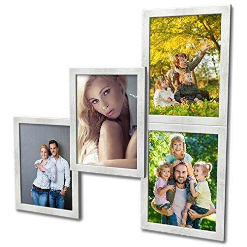 Artepoint 404 Fotogalerie für 4 Fotos 13x18 cm - 3D Optik - Bilderrahmen Bildergalerie Fotocollage Rahmenfarbe Silber gebürstet