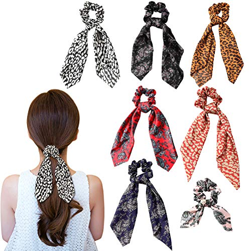 Wooyaya 6Pcs Scarves Scrunchies Tropical Travel Style Elastic Hair Bands Hair Ties Rope Ponytail Holder Hair Accessories for Women and Girls