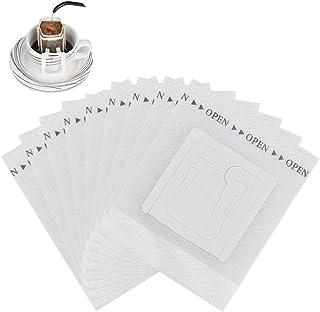 UTRUGAN Lot de 50 filtres à café jetables en papier blanc avec oreilles suspendues pour le camping, l'extérieur, les voyag...