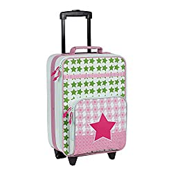 LÄSSIG Children's suitcase / trolley Children's luggage / travel case with telescopic handle and wheels / Kids Trolley, starlight olive