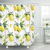Joocar Rideau de douche en tissu polyester imperméable avec 12 crochets Motif fruits et citron sur arbre coloré Blanc