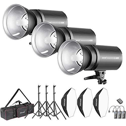 Neewer 1200W Studio Blitzblitz Fotografie Studioset: 400W Monolicht Reflektor Diffusor Softbox Lichtständer RT-16 drahtloser Auslöser Tasche für Aufnahme Bowens Montage ( S-300N)
