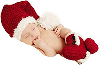 Christmas Newborn Baby Photo Shoot Props Outfits Crochet Clothes Santa Claus Red Hat Boots Photography Props