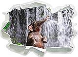 Babyelefant am Wasserfall, Papier 3D-Wandsticker Format: 92x67 cm Wanddekoration 3D-Wandaufkleber Wandtattoo