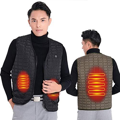 Yeah-hhi Chaleco de invierno con calefacción de 3 zonas de 3 niveles de temperatura inteligente calentador eléctrico ropa para invierno hombre mujer, hombre ~ negro, XXL