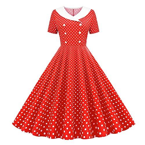 YLDCN Faldas para Niña Vestido Vintage con Doble Botonadura Y Puntos para Mujer, Vestidos Acampanados para Mujer-Red_XXL