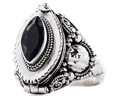 WINDALF Anello in argento Sterling 925 lavorato a mano, con cristallo nero e scomparto segreto e Argento, 70 (22.3), colore: Nero, cod. r191-2