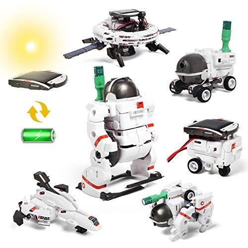 Lehoo Castle Solar Robot Toys, 6 in 1 STEM Educational Solar Space Building Toys, DIY Solar Power...