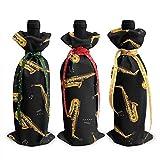 Bolsas para botellas de vino de 3 piezas, bolsa de asas navideña de saxofón para bodas, regalos de fiesta, Navidad, vacaciones y suministros para fiestas de vino